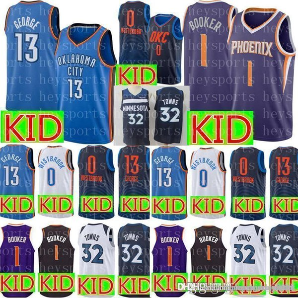 innovative design 55221 7387a 2019 New KID 1 Devin # Booker Suns Jersey Youth 0 Russell # Westbrook  Oklahoma 13 Paul # George City Thunder Karl Anthony 32 Towns Jerseys From  ...