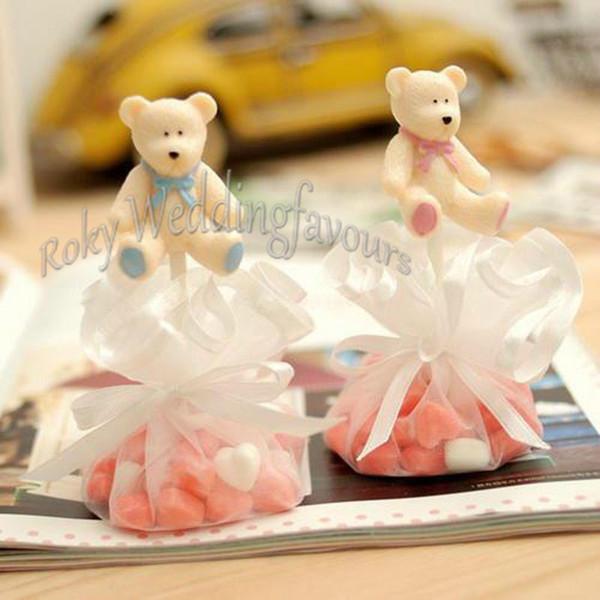 12 PCS Teddy Bear Organza Tulle Círculo Pacote de Doces Do Chuveiro Do Bebê Festa de Crianças Favores Eventos Pacote Doce Suprimentos