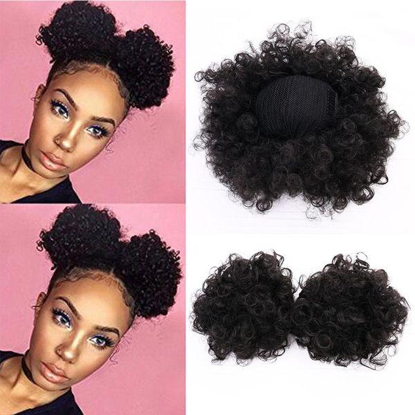 High Puff Africa Curly Wig Ponytail Drawstring Short Afro Kinky Tail Clip en adorno de bollo de pelo rizado sintético