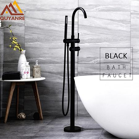 Black Bathtub Faucet 360 Rotation Floor Stand Faucet Single Handle Mixer Tap ABS handshower Bath Faucets