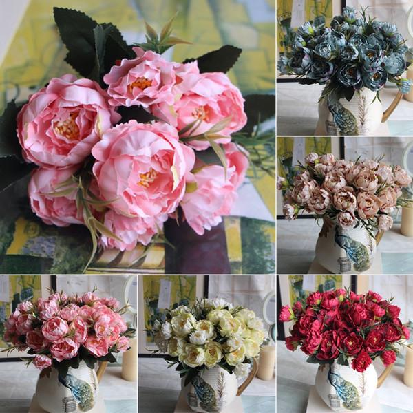 8 Kopf Mini Künstliche Pfingstrose Seidenblumen Bouquet Europäischen für Hochzeit Braut Party Gefälschte Blumen Bouquet Hausgarten Dekoration