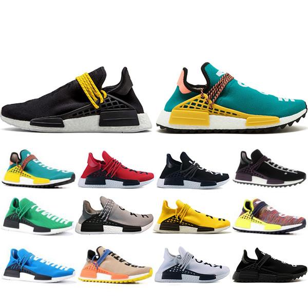 NMD Human Race Hu trail pharrell williams Running shoes Men Nerd black cream mens trainer women designer sports sneakers US 5-12 ELECAR