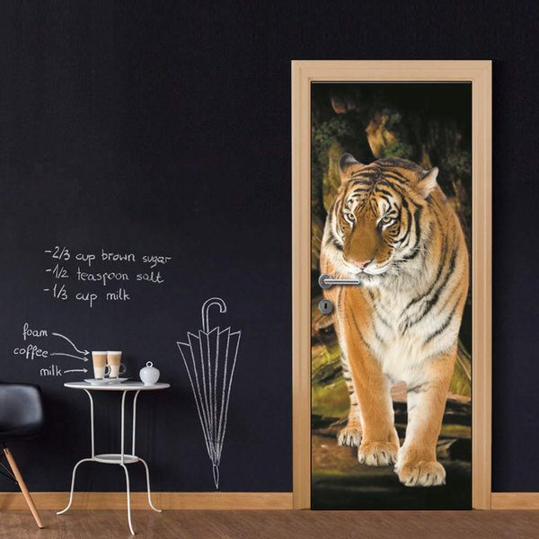 Wholesales DIY Door Sticker Tiger Painting Wateproof Door Decal Best Wallpapers Decal kitchen decor