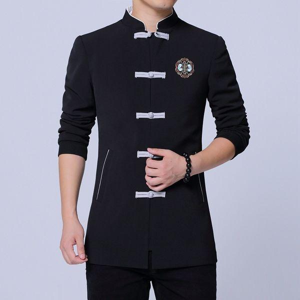 # 4040 Primavera 2019 Vintage Casual stile cinese Blazer Uomo Plus Size Abito ricamo Blazer Hombre Mandarin Collar Nero / Grigio