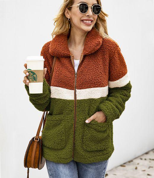 Women Zipper Stitching Pocket Blouse Winter Patchwork Plush Coat Casual Zipper Turndown Collar Long Sleeve Fleece Tops Outwear GGA2561
