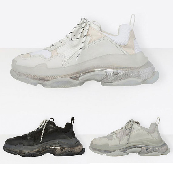 Brand Luxury Triple S Sneakers Crystal Transparent White Air Shoes Mens Womens Fashion Casual Shoe Speed Trainers Top Quality