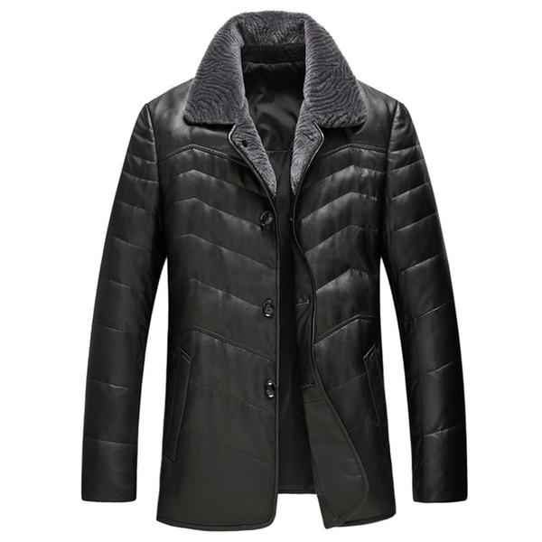 Men's Genuine Leather Jacket Winter Jacket Men Real Wool Fur Collar Sheepskin Coat Warm Down Jackets Manteau Homme Hiver MY1802