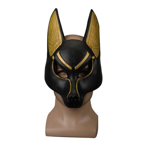 Ägyptische Anubis Cosplay Gesichtsmaske Latex Schaum Canis spp Wolf Kopf Tier Maskerade Requisiten Party Halloween Kostüm