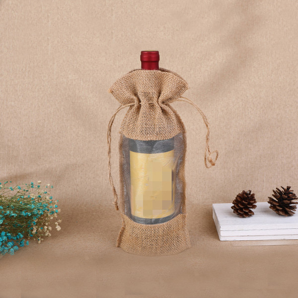 Natural Hessian Jute Gift Bag 14x30cm Linen Burlap Drawstring Wine Bottle Covers Christmas Gift Pouch for Red Wine Champagne Storage