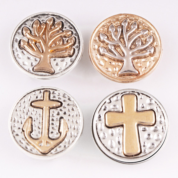 tree of life buttons MF6366 CROSS FAIHT Tree of life 18mm Metal Snap Button Jewelry