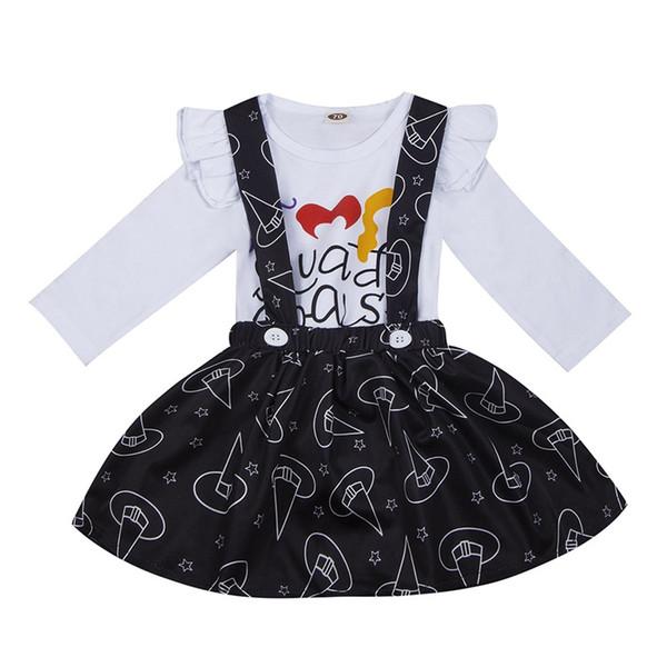 Ropa para niños de Halloween Vestido de niña 2 piezas Conjunto Conjuntos de falda de mameluco de manga larga para niños pequeños para 0-2T