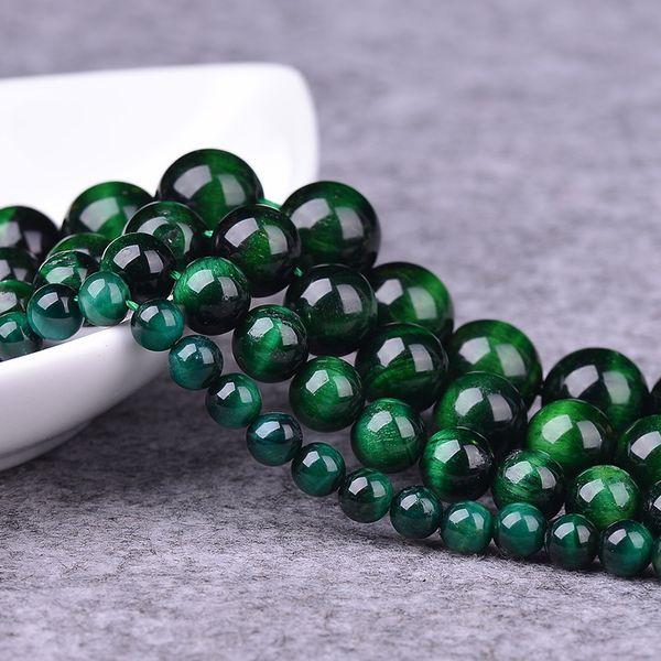 Alta Calidad de Piedra Natural Green Tiger Eye Beads Granos Flojos Redondos 6 8 10 12 MM para DIY Pulsera Collar Fabricación de Joyas