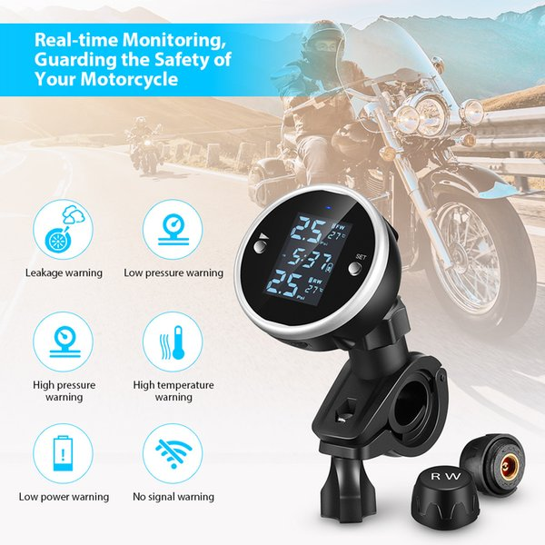 best selling ZEEPIN C150 Tire Pressure Monitoring System Motorcycle TPMS IP67 Waterproof Real-time Tester LCD Screen with 2 External Sensors