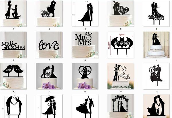 Mr Mrs Düğün Dekorasyon c Akrilik Siyah Romantik Gelin Damat Kek Aksesuarları Düğün Parti Iyilik Için