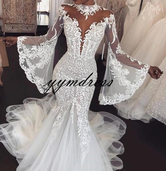Beach Mermaid Abiti da sposa 2019 Collo alto Sheer maniche lunghe in pizzo Appliques Abiti da sposa da sposa Vestido De Novia