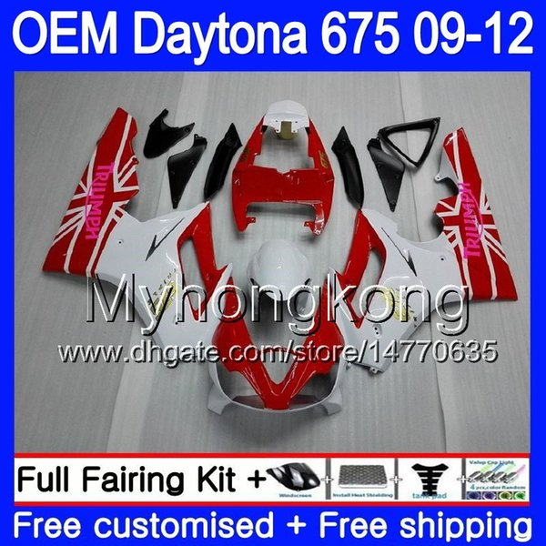 Injection For Triumph Daytona 675 09 10 11 12 white red hot Bodywork 323HM.23 Daytona-675 Daytona675 Daytona 675 2009 2010 2011 2012 Fairing