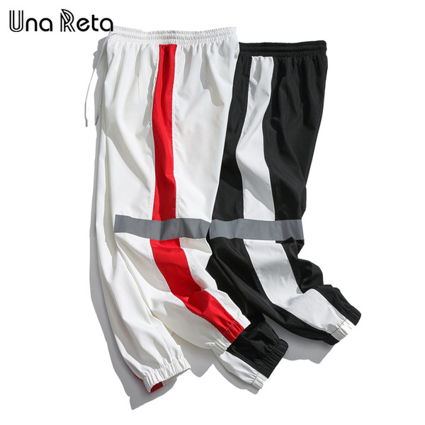 Una Reta Hip-hop Mens Fashion Fitness New Casual Sweatpants Trousers Streetwear Reflective Design Harem Pants C19041701