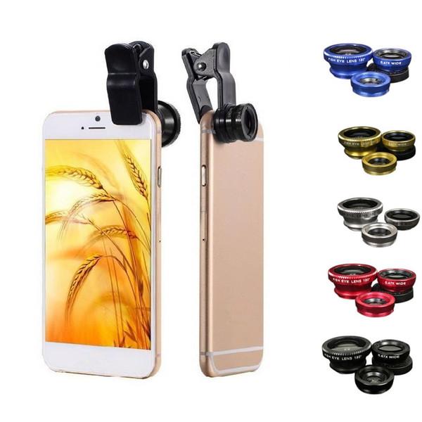 Lentes de teléfono móvil 3 en 1 Lente ojo de pez Macro gran angular Conjunto de lentes de cámara Clip universal Accesorio para fotos
