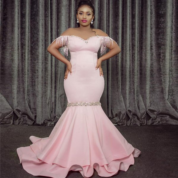 Sexy Pink Off the Shoulder Mermaid Evening Dresses Tassel Beading Crystal Prom Gown Cheap Satin Bridesmaid Dress