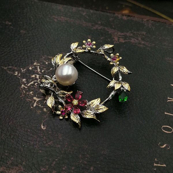 wholesale Fashion Jewellry Ethnic Flower Leaf Round Natural Pearl Cubic Zirconia Brooch Pin Wedding Accessories for Women 2018 New
