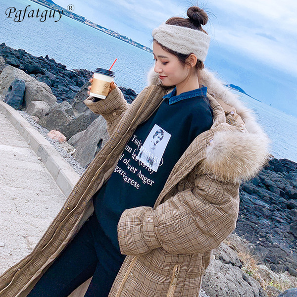 With Big Fur Plaid Coats 2018 Fashion Women Winter Coat X-Long Slim Thicken Warm Jacket Down Cotton Padded Jacket Outwear Parkas