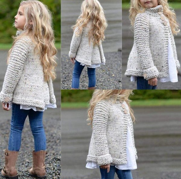 Baby Little Girls Cute Autumn Winter Button Knitted Sweater Cardigan Warm  Thick Coat Clothes Little Girl Cardigans Cropped Cardigans For Dresses From