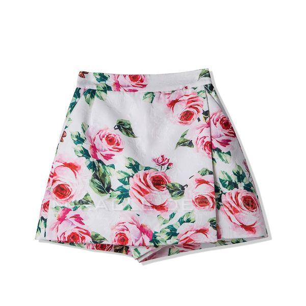 New 2018 spring blossoming rose printed dark jacquard oblique assembling piece tall waist wide leg skirt