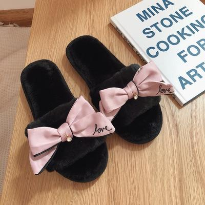 3A Womens designer winter sandals warm and cozy home slippers with flower fur flip flops sweet lace bow fur slides