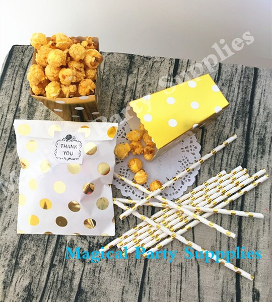 148pcs Gold Mixed Designs Foil Candy Bags Paper Party Snacks Box Popcorn Favor Gold Drinking Straws for Baby Shower Birthday
