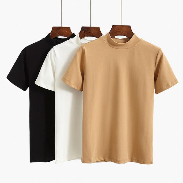 GIGOGOU 95% Cotton Women T Shirt Summer Basic Tshirt S-2XL Plus Size Fashion Casual Short Sleevs Top O-Neck Female T-shirt Q190522
