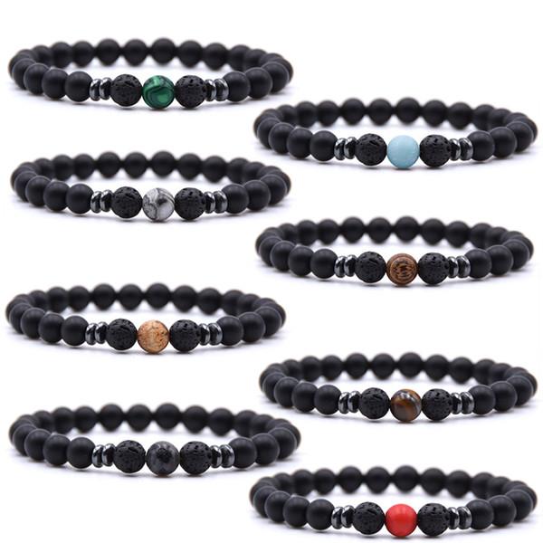Free DHL 2019 18 Styles Natural Stone Bracelets 8mm Yoga Beads Fashion Bracelet Elastic Bangle Men Women Hand Strings Christmas Gift M509F