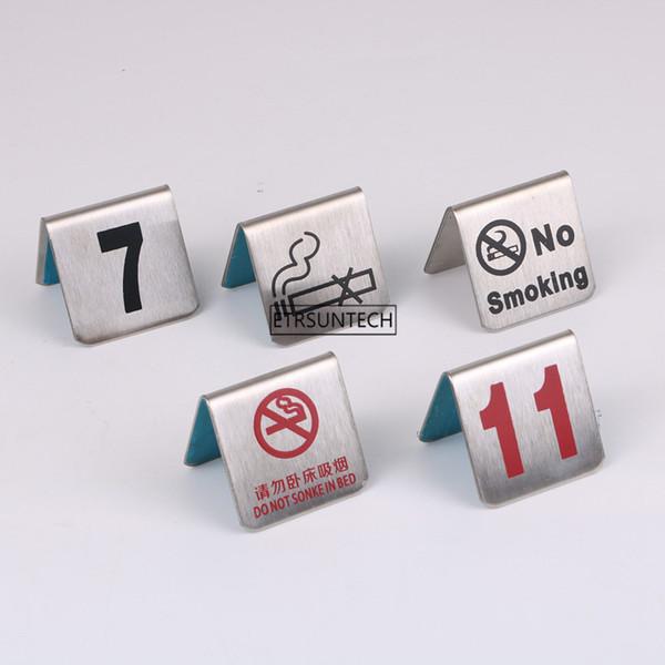 Número 1-100 Tarjetas de Números de Mesa de Acero Inoxidable No Fumador Tarjeta de Letrero de Mesa Pequeña Restaurante Hotel Café Bar Herramientas