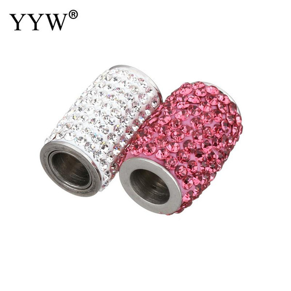 10pcs/Lot Stainless Steel Magnetic Clasp With Rhinestone Connector Finding For Jewelry Making Hole 6mm fit Bracelet DIY