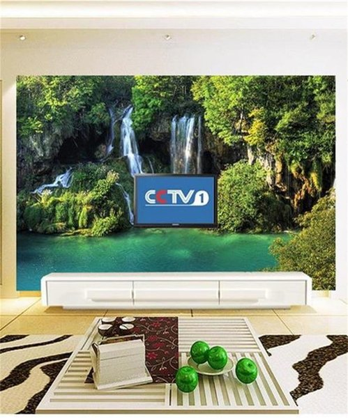 custom size 3d photo wallpaper living room mural Green Tree Forest Waterfall Lake view picture sofa TV backdrop wallpaper non-woven sticker
