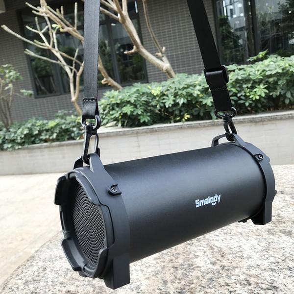 Smalody Altoparlante Bluetooth Altoparlanti stereo senza fili per esterni Bassi con tracolla per campeggio Grandi altoparlanti Buon suono Migliore carica2