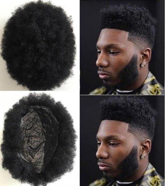 Hair System Mens Perücke Afro Curl Volle Dünne Haut Toupee Jet Black # 1 Brasilianisches Reines Menschenhaar Ersatz für Schwarze Männer Freies Verschiffen