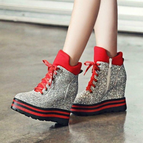 Womens Sequins Bling Sliver Glitter High Top Wedge Heel Sneakers Ankle Boots Platform Lace Up Shoes 4Colors Plus Size A1511
