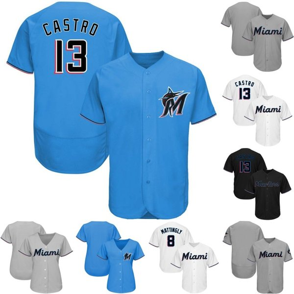 Miami Jersey 8 Don Mattingly 9 Lewis Brinson 11 J.T. Realmuto 13 Starlin Castro 14 Martin Prado 15 Brian Anderson Marlins Baseball Jerseys