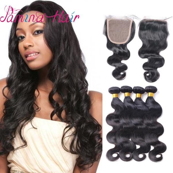Mink Brasileño Body Wave Hair Bundles Con Cierre de Cordón 4x4 Sin Procesar Brasileño Virgin Virgin Body Wave Cierre de Cordón Con Cabello Humano Bundles