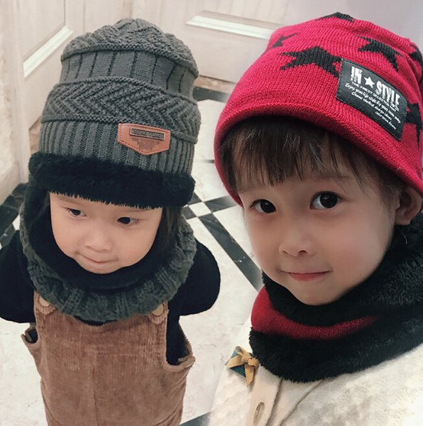 Children's Outdoor Hats autumn and winter warm two-piece boys and girls tide wool plus velvet warm hat scarf