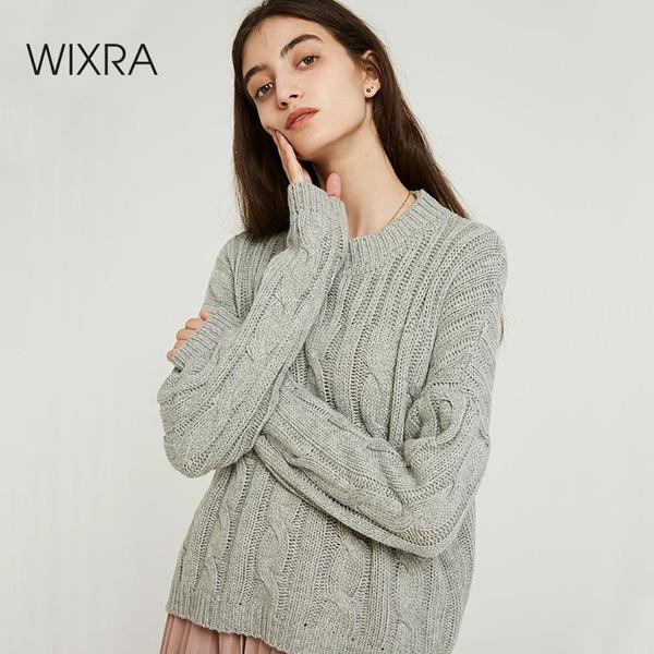 Wixra Женщины Твердые Трикотажные O-образным Вырезом Свитер И Пуловер Осень-Зима Basic Pull Femme Топы Женская Одежда
