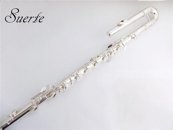 C tuşu Bas Flüt Müzik aletleri Vaka müzik aletleri ile çizgi G Anahtar cupronickel Bas flüt 14 Delik Ocarina