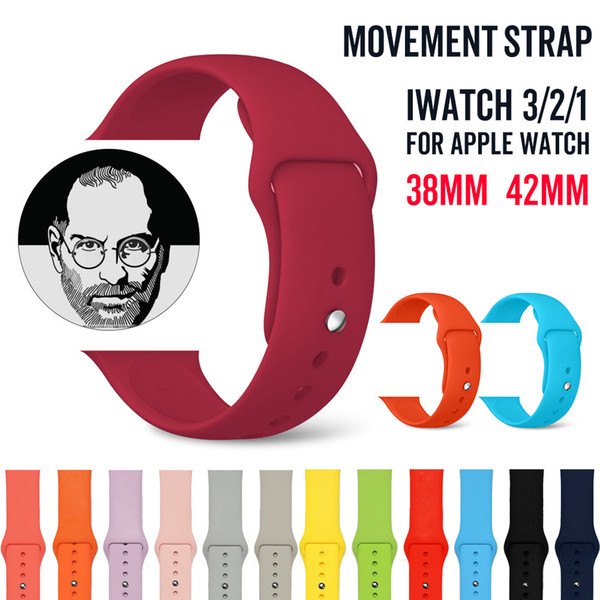 Colorful soft Silicone Sport Band Replacement For Apple Watch 4 3 2 1 Band Wrist Strap With Adapters Accessories 40mm 44mm 42mm 38mm