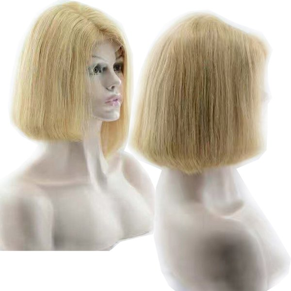 613 Blonde Bob European Full Lace Front Human Hair Wigs Pop Cheap Real Natural Straight Hair Products Free Tangle Bleaching 12-16 inches