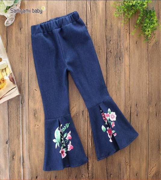 2019New Spring Girls Jeans Pants Boot Cut Tassel Jeans Girls Denim Trousers Fashion Kids Jeans Full Length Girl Denim Pants