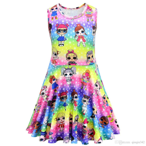 Factory direct sale ids designer clothes girls vest sleeveless skirt doll cartoon pattern can sent one pcs