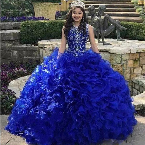Em camadas Babados Em Cascata Azul Royal Vestidos Quinceanera Jewel Neck Cristal Frisado Organza Doce 16 vestido de Baile Vestidos de Princesa