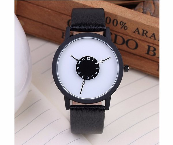 Hot fashion creative watches women men quartz-watch 2017 BGG  unique dial design lovers' watch leather wristwatches clock