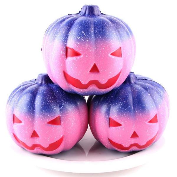 Venta al por mayor Hallowmas Squishy Starry Rainbow Pumpkin 7 CM Levantamiento Lento Rebote Juguetes Squishies Mano Apretado Juguete Niños Regalos de Halloween