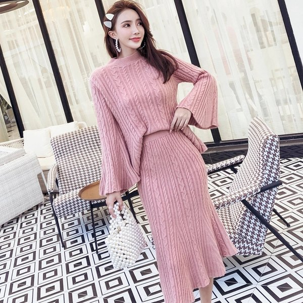 Autumn and winter the latest Korean temperament trumpet sleeve fashion sweater fishtail skirt two-piece suit